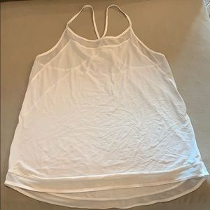 Lululemon sheer white spaghetti strap top, size 6
